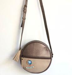 Prismatic Round Sling Bag - Bronze & Beige   Customize with a patch