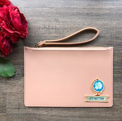 Solid-Coloured Wristlet Pouch - Blush Pink | Customize with a patch of your choice