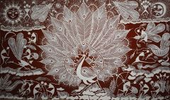Warli Painting on Canvas- Theme: Mor aani  Nisarg (Peacock in the nature)-C6