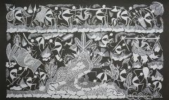 Warli Painting on Canvas- Theme: Dongaretala Vihara (Roaming on the hills)-B11