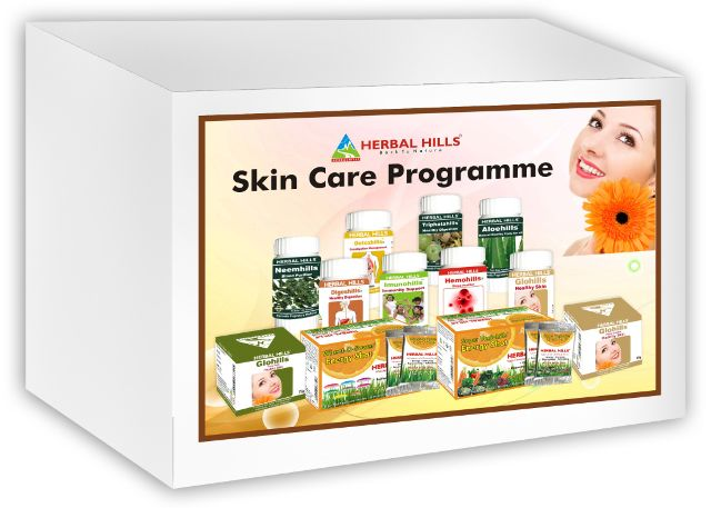 Skin Care Programme - 12 products (Detoxhills, Imunohills, Glohills, Wheat-O-Power Orange, Hemohills, Digeshills, Triphalahills, Neemhills, Super Vegiehills Orange, Aloehills, Glohills Face Cream, Glohills Ultra Face Pack)