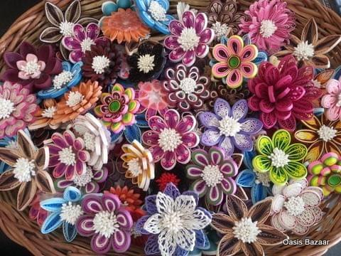 Quilled Big Assorted Flowers Basket