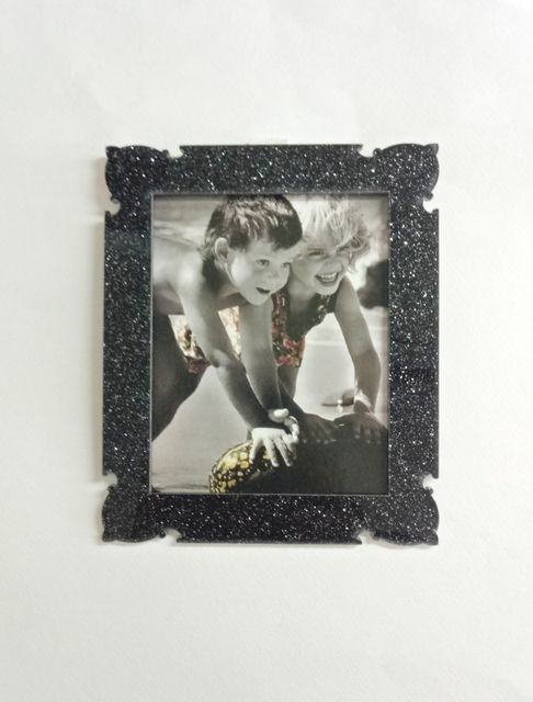 Acrylic Glitter Photo Frame Black