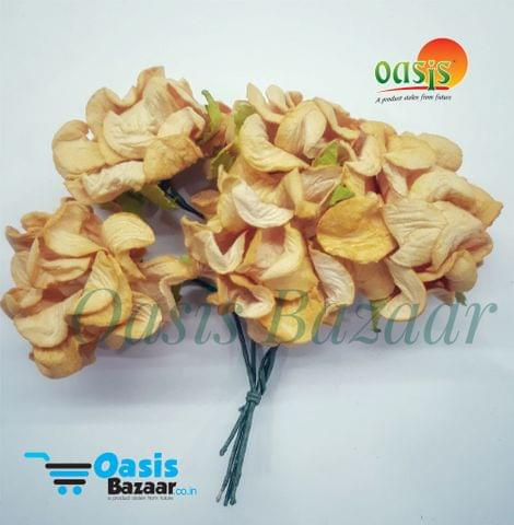 Mulberry Gardenia Flowers Peach In Color 5 Bunches in Pack