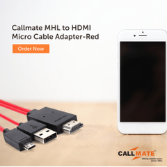 Callmate MHL to HDMI Micro Cable Adapter-Red