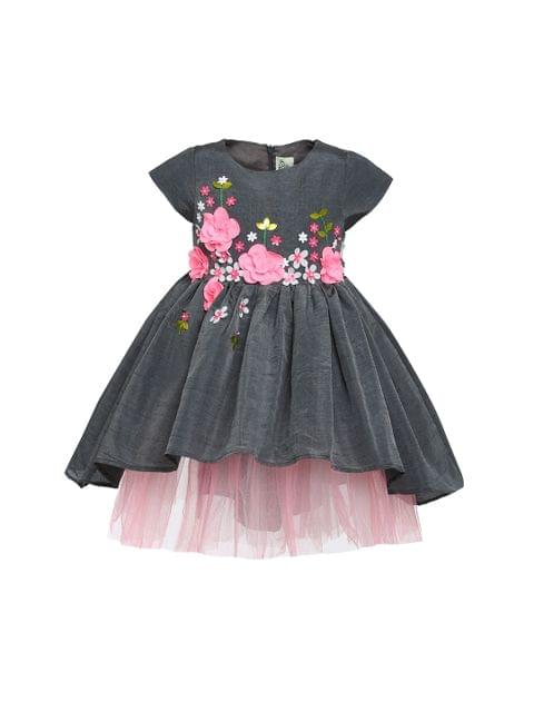 Grey Pink Fleur Dress