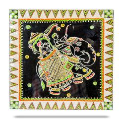 "Mangala Art Elephant Warli Gurjari Art Work Wall Decor 30x30cms (12""x12"")"