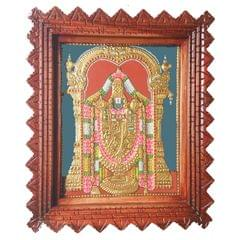 "Mangla Art Balaji 24 Carat Gold Foil Traditional Tanjore Painting with Wooden Frame - 8""x10"""