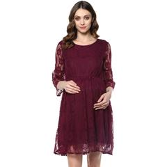 Magenta lace maternity dress