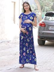 Chic navy Floral Maternity Maxi Dress