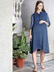 Blue Striped Maternity and Nursing Dress