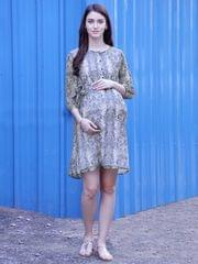 Chic Animal Print Maternity & Nursing Dress