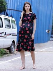 Classic Rose Maternity & Nursing Dress