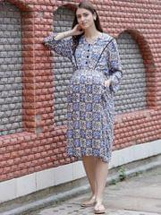 Retro Chic Floral Maternity & Nursing Dress