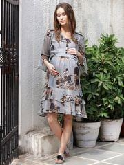 Coin-Grey Floral Midi Maternity & Nursing Dress