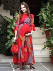 Rose-Berry Abstract Print Maternity & Nursing Dress