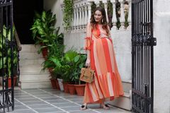 Tangerine Striped Concealed Zips Maxi and Maternity Dress