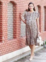 Mine4Nine Women' RayonFit&FlareMaternity Dress(Off White,MNDR7302-S)