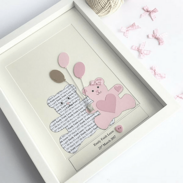 Baby Girl - Personalised Frame - Teddy Bear
