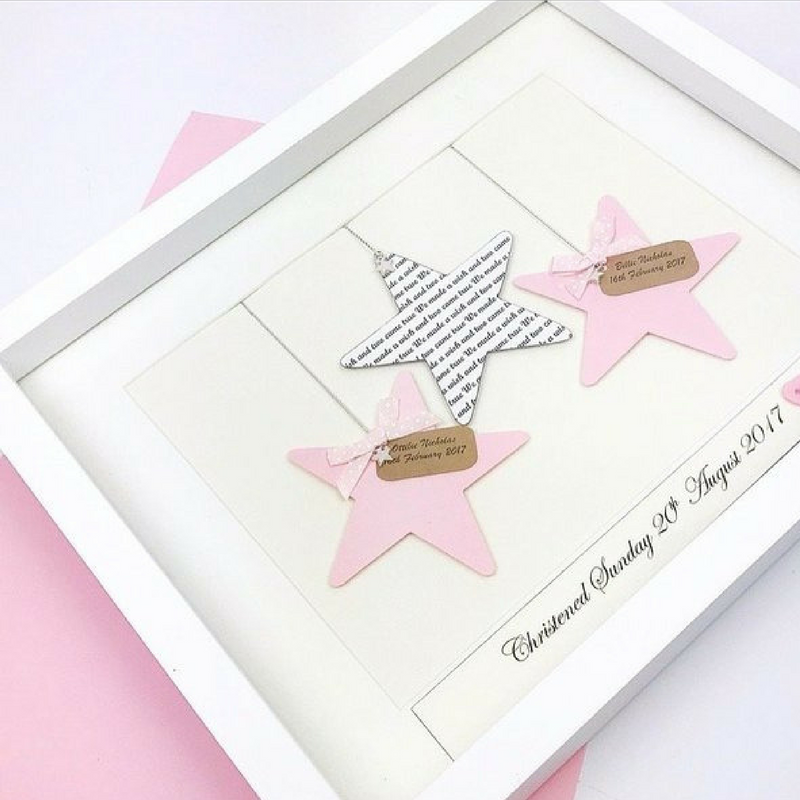 Baby Girl Twins Personalised Frame - Stars