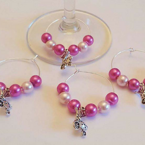 Wine Glass Charm Favours - Baby Pram - Pink