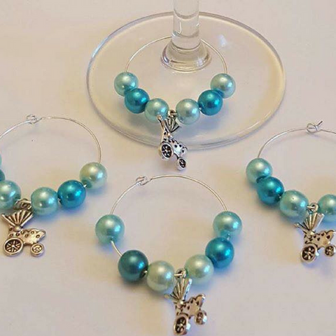 Wine Glass Charm Favours - Baby Pram - Blue