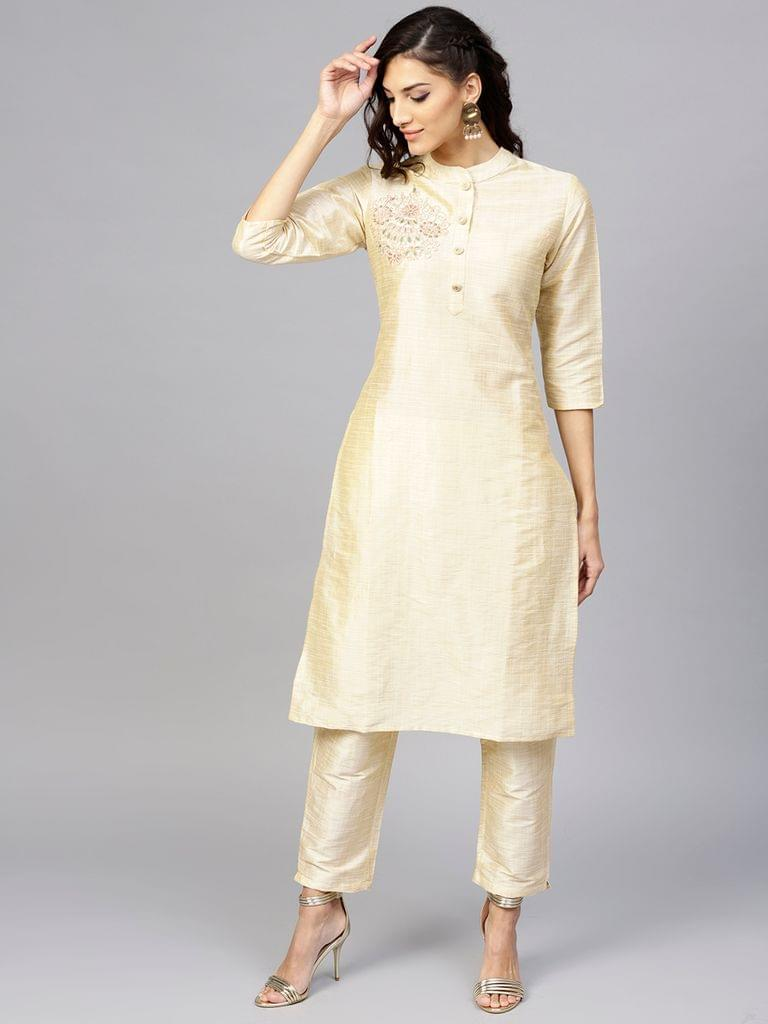 Women Cream-Coloured Solid Kurta with Trousers