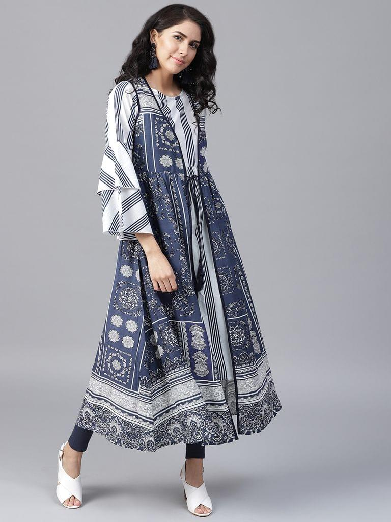 Yufta Women Navy Blue  White Striped Layered A-Line Kurta