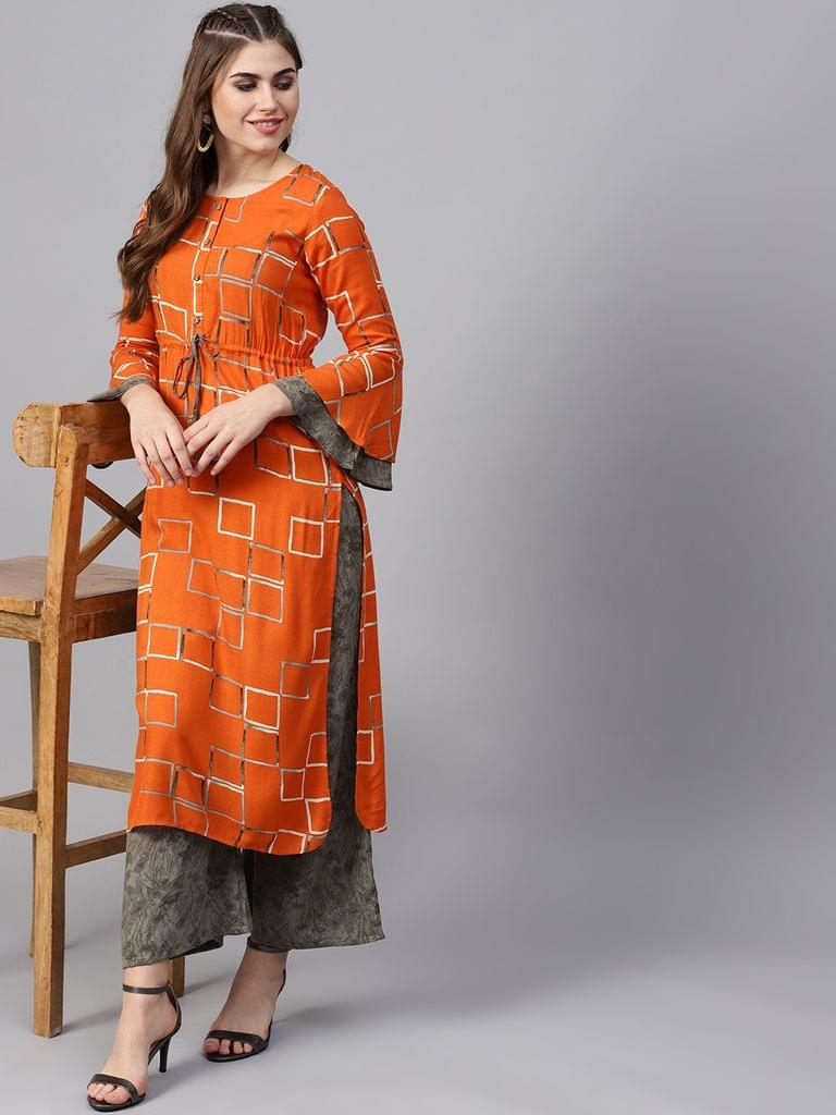 Yufta Women Orange & Grey Printed Kurta with Palazzos