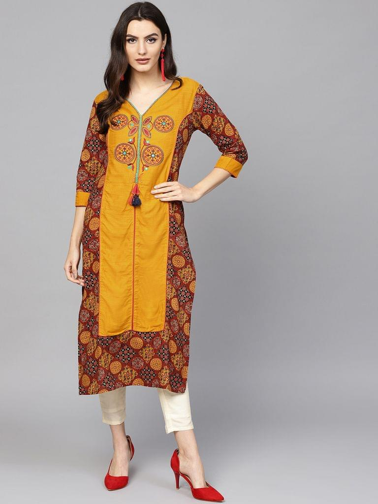Women Mustard Yellow & Rust Brown Printed Straight Kurta