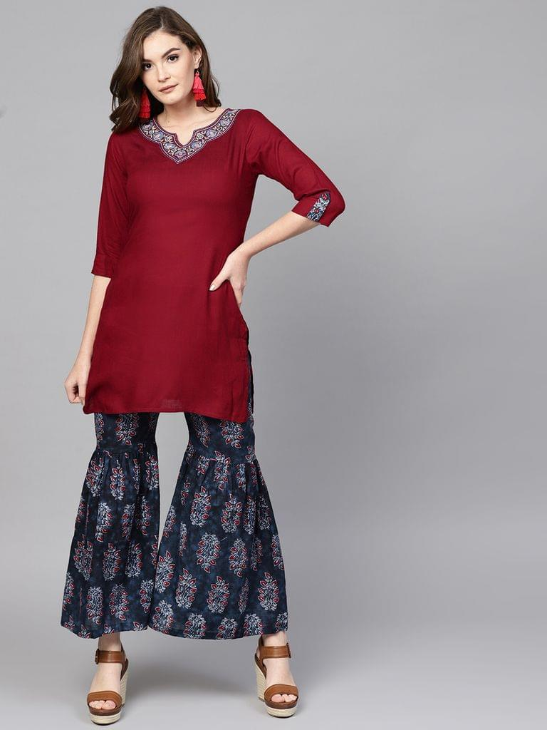 Women Maroon & Navy Blue Solid Kurta with Sharara