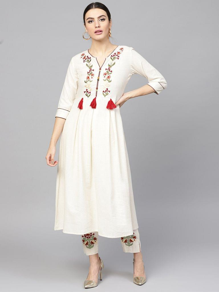 Women Off-White & Maroon Embroidered Kurta with Trousers