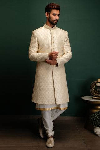 Ivory Dori Work Sherwani With Churidaar