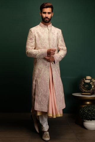 Pink Dori Work Sherwani With Churidaar