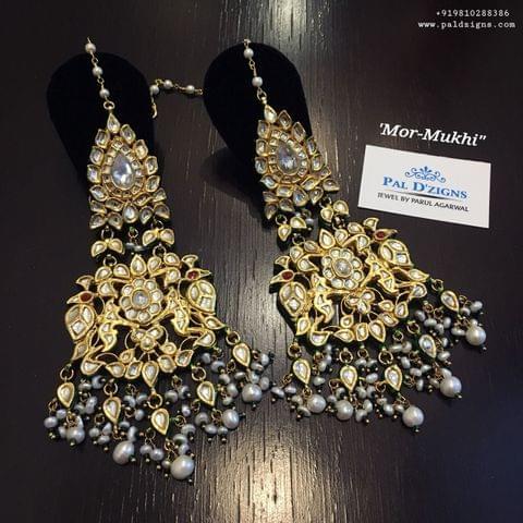 Mor-Mukhi Kundan Earings