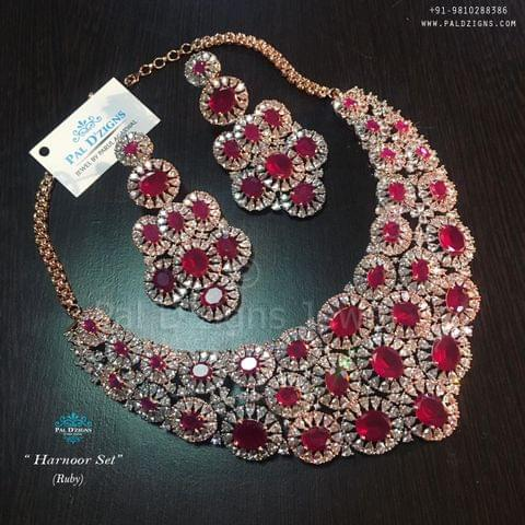 Harnoor Ruby Diamond Set