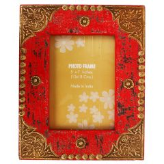 Purpledip Distress finish photo frame with brass adornments for 5x7 inch picture size,Red Color (10124)