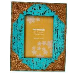Purpledip Distress finish photo frame with brass adornments for 5x7 inch picture size,Turquoise Color (10127)