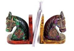Painted Wooden Bookends 'Royal Stallions' (10258)