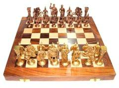 "Purpledip Chess Set with Brass Sculpted Pieces in Ancient Roman Style and Wooden Board ""Golden Era"" (10404)"