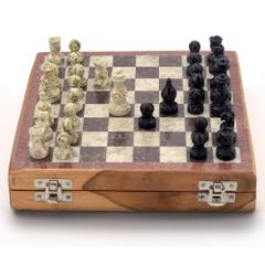 Purpledip Chess Set with Stone Sculpted Pieces and Marble Finish Board (10205)