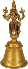 Purpledip Unique Heavy Handheld Brass bell with Lord Vishnu for Hindu pooja (10521)