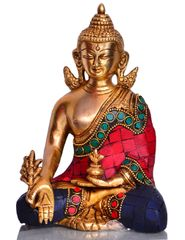 Purpledip God Statue of Lord Buddha in Solid Brass Metal with Turquoise Gem-stone Work  (10531)