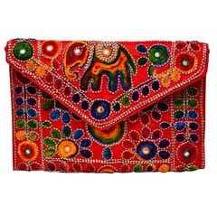 Purpledip Rich Indian Handwork with Elephant Motifs Cotton Handbags (10605)