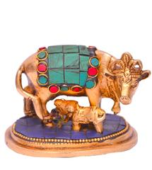 Purpledip Kamdhenu Cow and Calf in Pure Brass with gem stonework (10643)