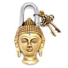 Purpledip Handcrafted Buddha Shaped Brass Padlock (10648)