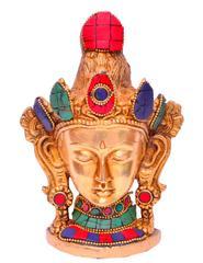 Purpledip Brass metal Buddhist Goddess Tara Mask,Wall Hanging (10649)