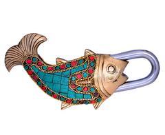Purpledip Fish Shaped Brass Lock Padlock With Colorful Gemstone Work (10662)