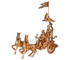 Purpledip Mahabharat/Geeta Arjun Chariot (Rath) With Krishna & Hanuman: Sculpted In Solid Brass Metal (10670)