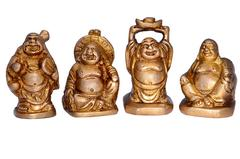 Purpledip Vintage Laughing Buddha Statue Set In Solid Brass Metal (10672)